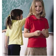 S/S French Toast GIRLS' Interlock Picot Polo