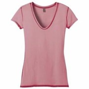 DISTRICT JUNIORS Faded Rounded Deep V-Neck Tee