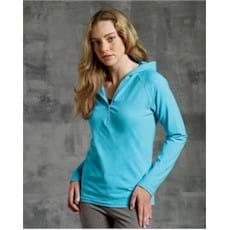 Bella Cotton/Spandex Half-Zip Hooded Pullover