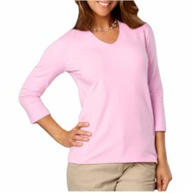 Blue Generation LADIES' 3/4 Sleeve V-Neck Tee