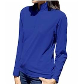 Blue Generation Ladies L/S Solid Zip Pullover