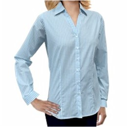 Blue Generation | BG Ladies L/S Blue/Aqua Tricolor Plaid