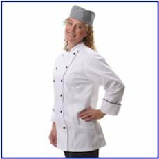Fame LADIES' Fitted Chef Coat w/ Black Piping