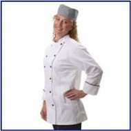 Fame | Fame LADIES' Fitted Chef Coat w/ Black Piping