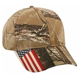 Outdoor Cap | Outdoor Cap American Flag Label on Visor Camo Cap