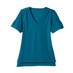 Devon & Jones | D&J Ladies' CrownLux Plaited Rolled-Sleeve Top
