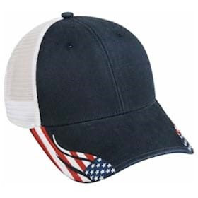 Outdoor Cap Structured American Flag Mesh Back Cap
