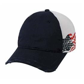 Outdoor Cap Mesh Back American Flag on Side Cap