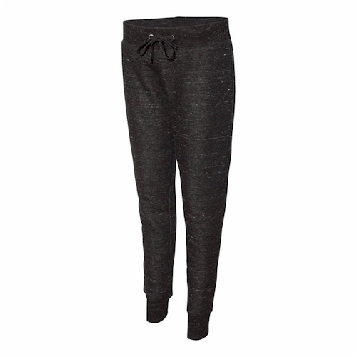 J America LADIES' Melange Fleece Jogger Pants