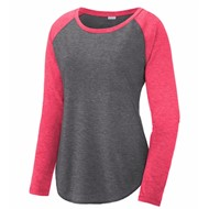 Sport-tek | SportTek Ladies LS Wicking Scoop Neck Raglan