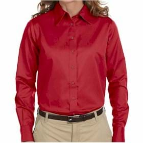 Harriton L/S Ladies' Twill Shirt with Stai