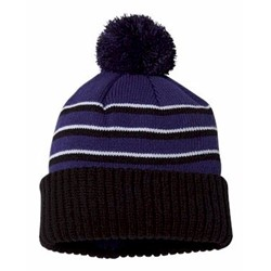 Richardson | - Stripe Pom Cuffed Beanie