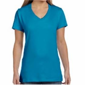 Hanes LADIES' 4.5 oz.Cotton V-Neck T-Shirt