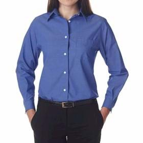 UltraClub Ladies' Long-Sleeve Performance Pinpoint