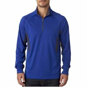 UltraClub Block Dimple Mesh 1/4 Zip Pullover