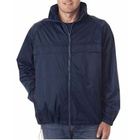 UltraClub Adult Hooded Zip-Front Pack-Away Jacket