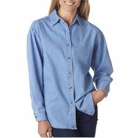 UltraClub Ladies' Long-Sleeve Cypress Denim