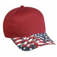Outdoor Cap | Outdoor Cap 5 Panel American Flag Visor Cap
